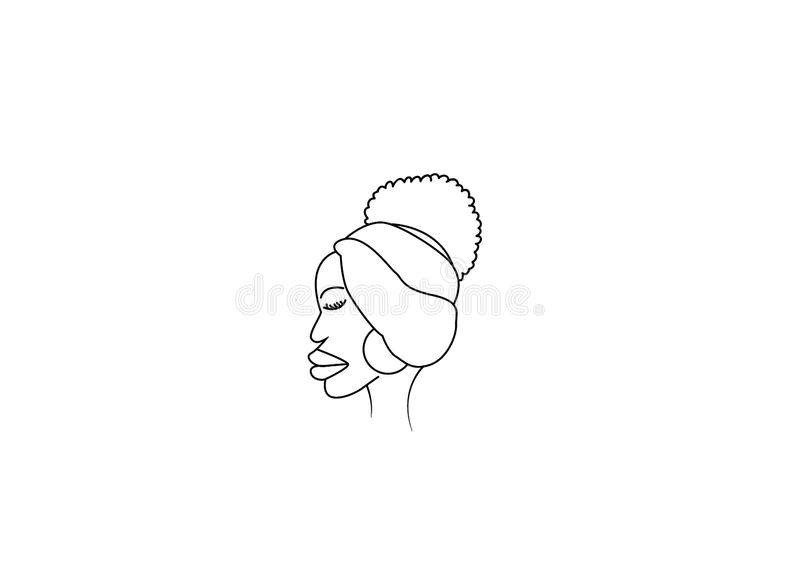 African face digitally created drawing. For clip art or icon use vector illustration