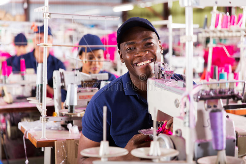 African factory worker royalty free stock photo