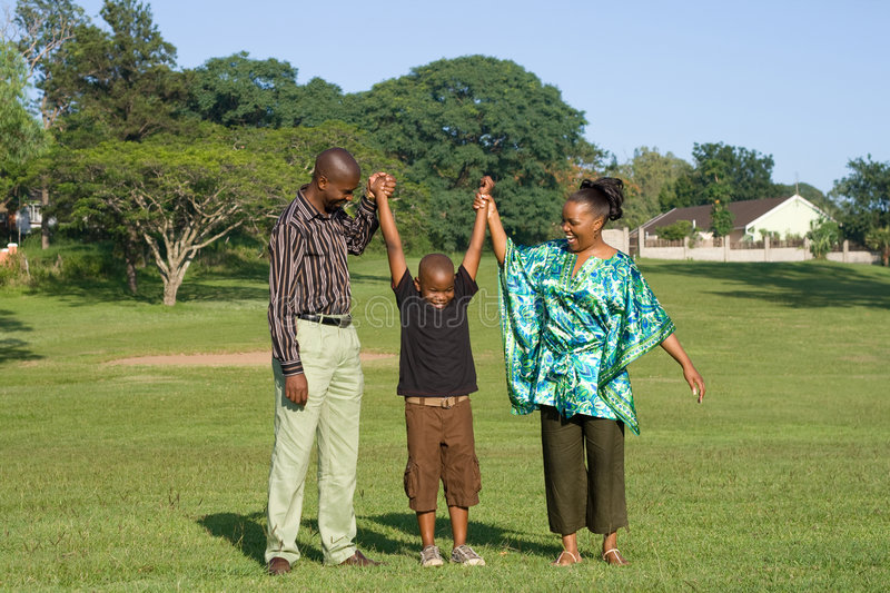 African family play outdoors stock photography