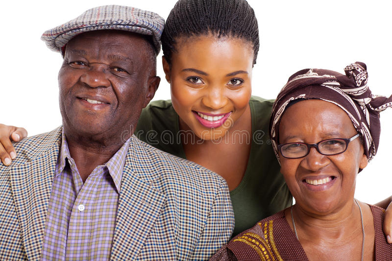 African family. Portrait of happy african family on white background stock photo