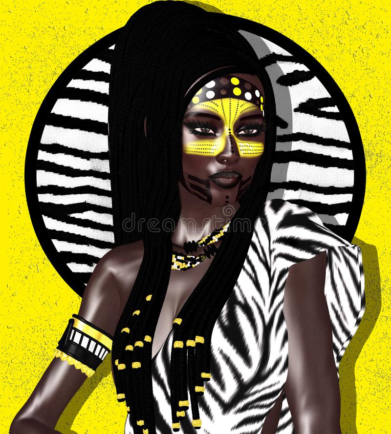 African fashion beauty in zebra stripes outfit royalty free illustration