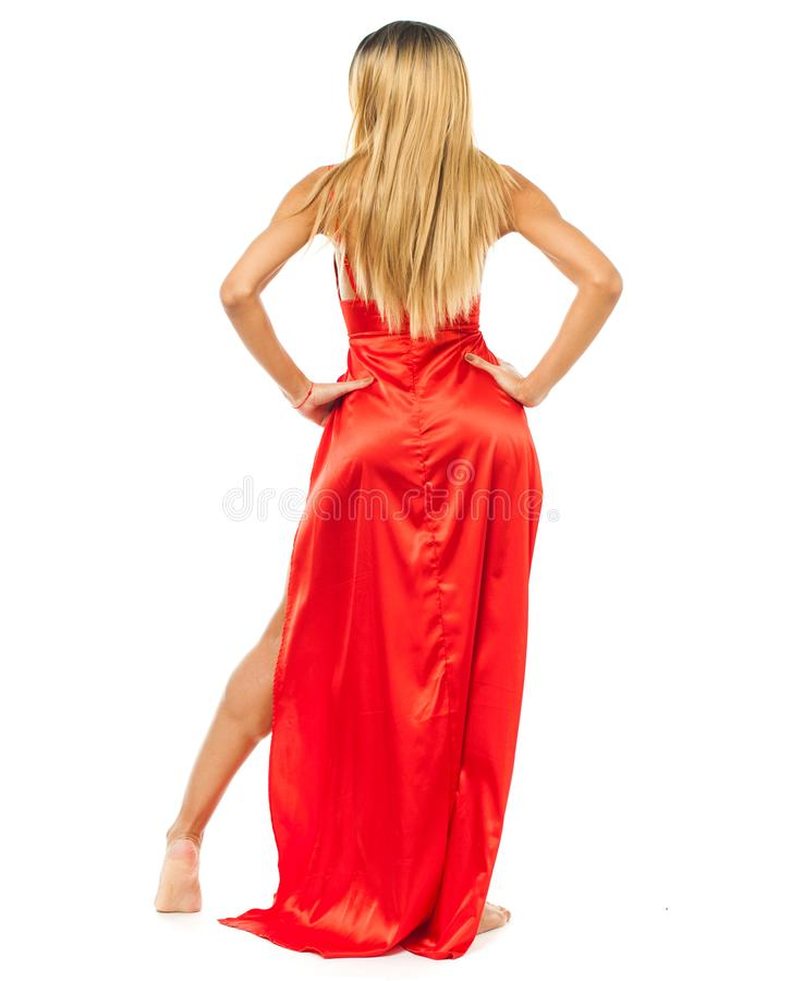 African fashion model. Beautiful young woman in red dress stock photo