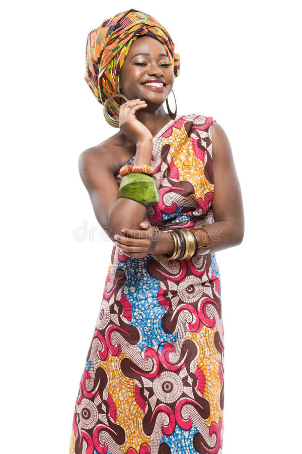 African fashion model on white background. royalty free stock images