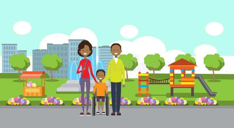 African father mother son wheelchair full length family avatar over city park children playground fountain green lawn. Trees cityscape template background flat royalty free illustration