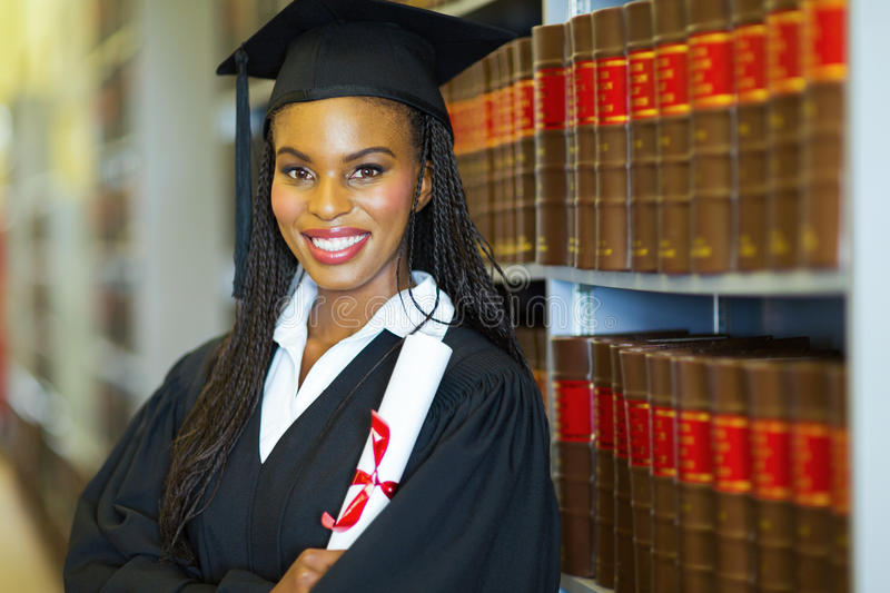 African female graduate stock photo
