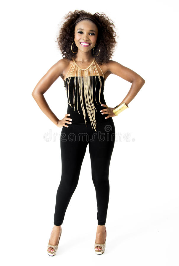 African Female Model Wearing Black with Gold Jewellery, Isolated on White Background stock images