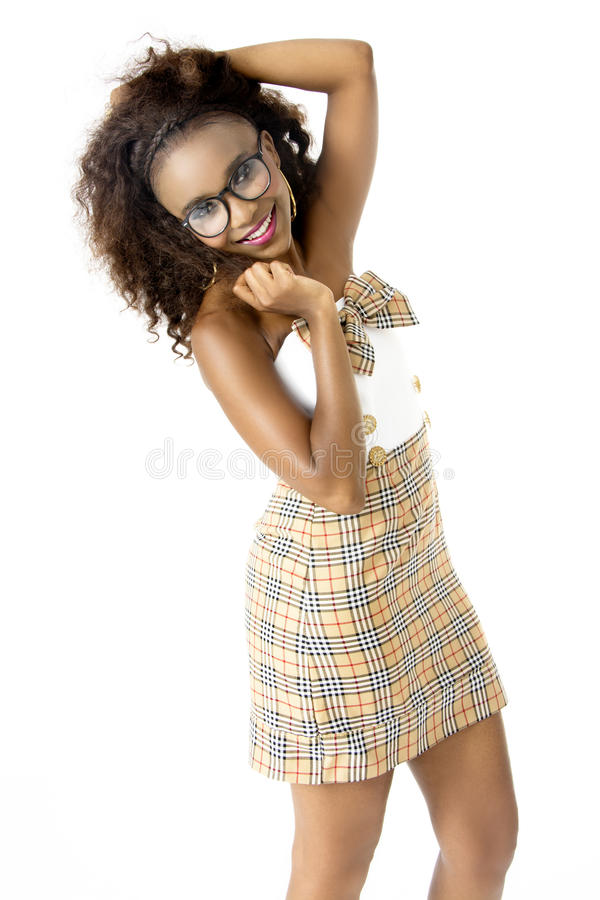 African Female Model Wearing Cute Dress, Spectacles, With Afro Hairstyle, royalty free stock image
