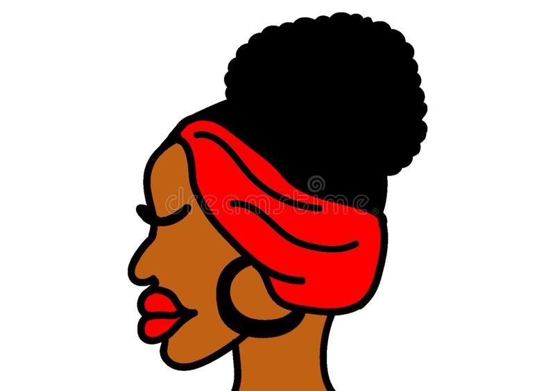 African female representation digitally illustrated. With read head piece for clipart stock illustration