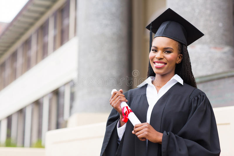 African female student graduation stock image