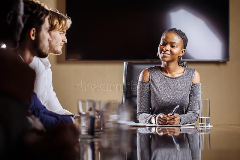 Female team leader on Meeting Discussion Talking in office conference room stock photos