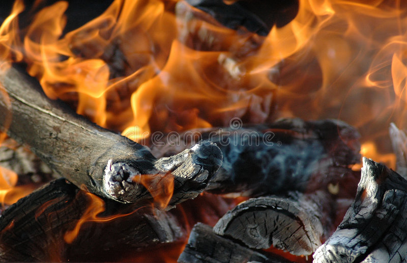 African fire. Active bright burning flames of a wood fire in nature to make a barbecue (BBQ) or so called South African Braai in South Africa royalty free stock photography