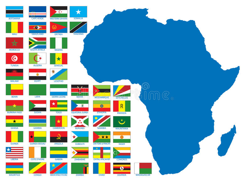 African flags vector illustration