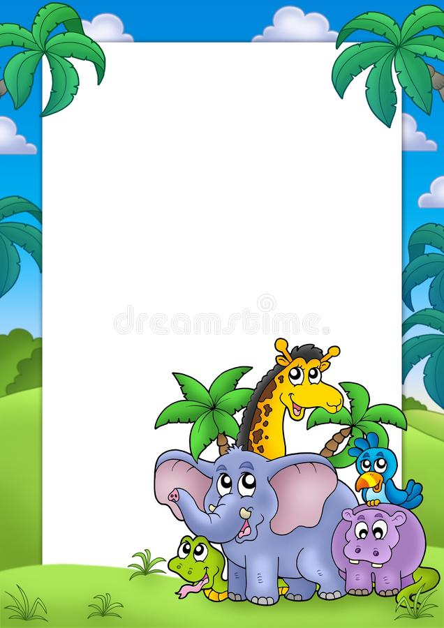 African Frame With Group Of Animals Royalty Free Stock Photography