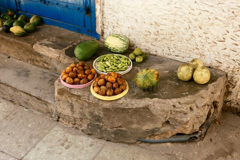African fruits in unsanitary conditions African market. African fruits in unsanitary conditions at African market royalty free stock photography