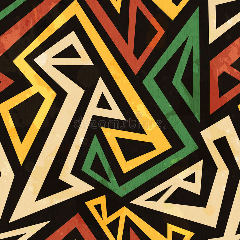 African geometric seamless pattern with grunge effect stock illustration