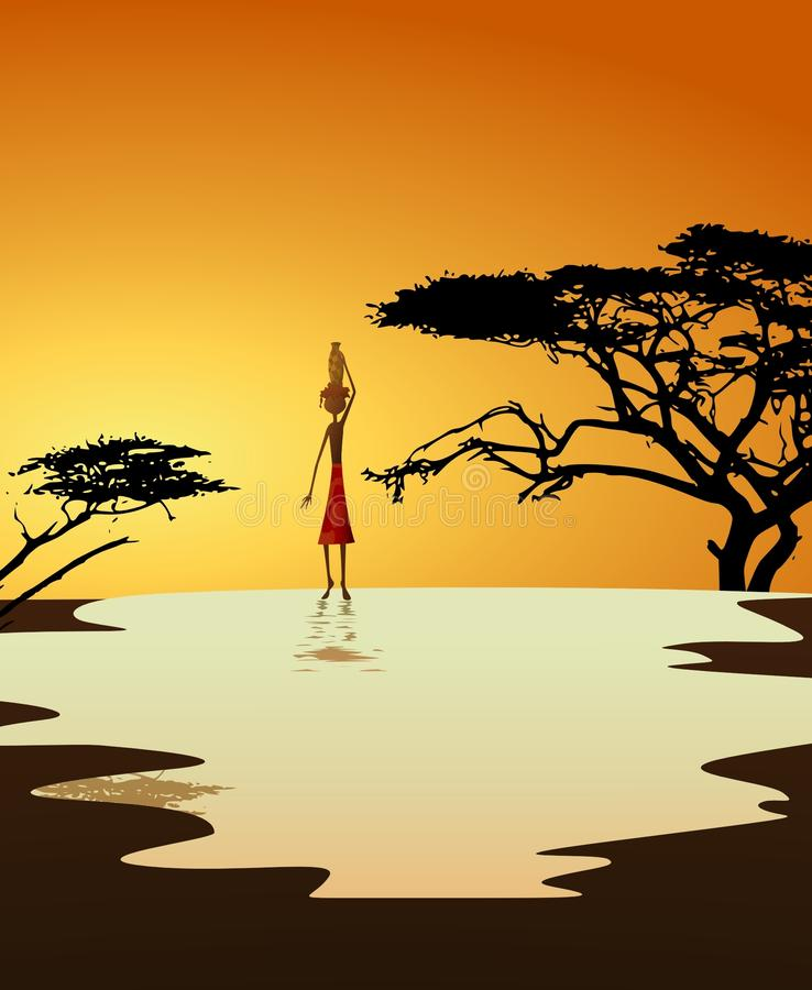 African girl carrying water stock illustration