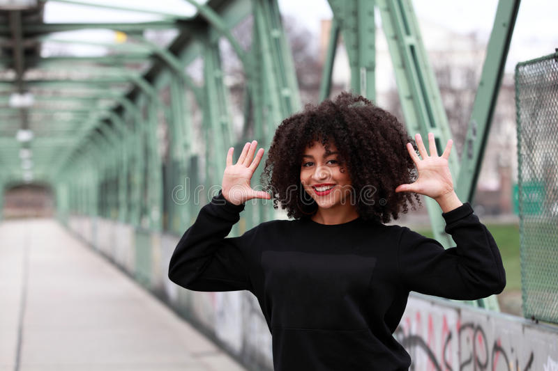 African girl with curly hair stock image