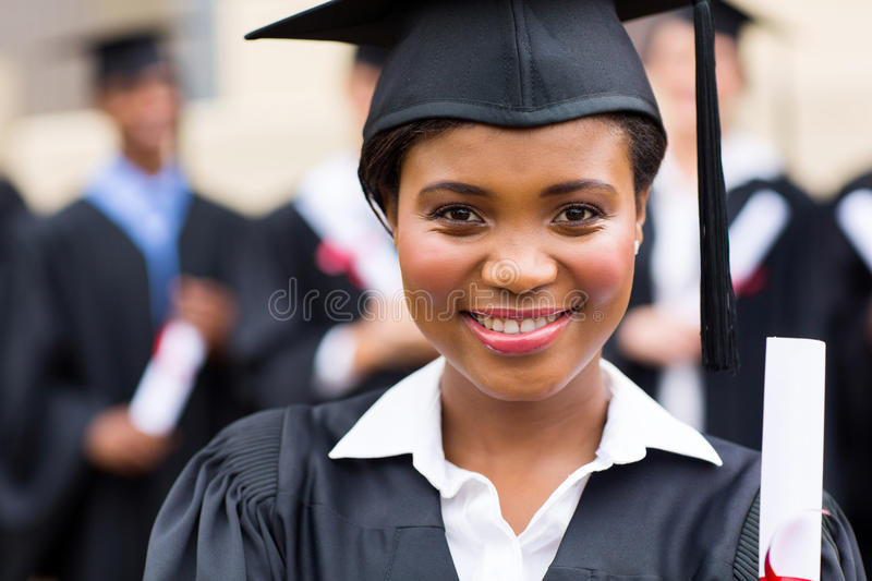 African girl graduation. Close up portrait of african girl at graduation royalty free stock image