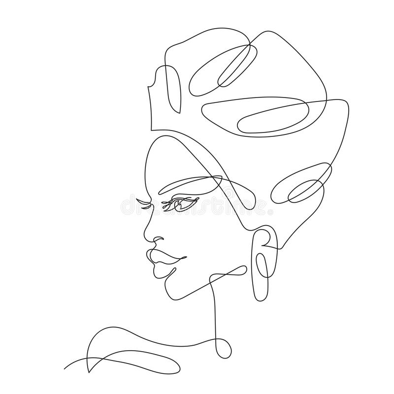 Free African Girl One Line Drawing Stock Photography - 143123002