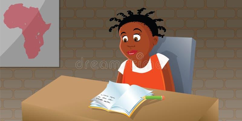 African girl studying stock illustration