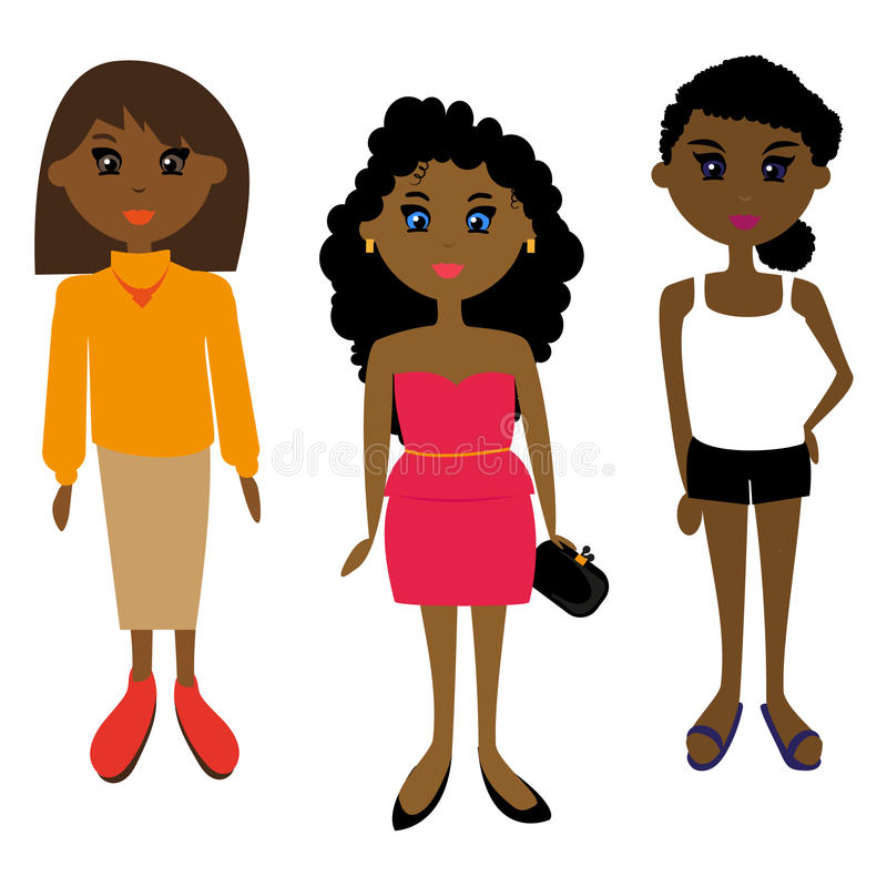 African girl. Three African girls. Other costumes. Different hairstyles stock illustration