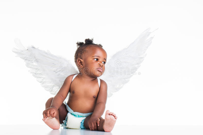 African girl in wings. royalty free stock photo