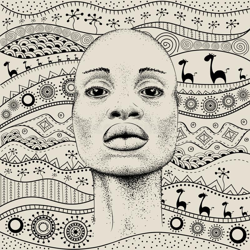 Free African Girl With African Hand Draw Ethno Pattern, Tribal Background. Beautiful Black Woman. Profile View. Vector Illustration Royalty Free Stock Photos - 107306688