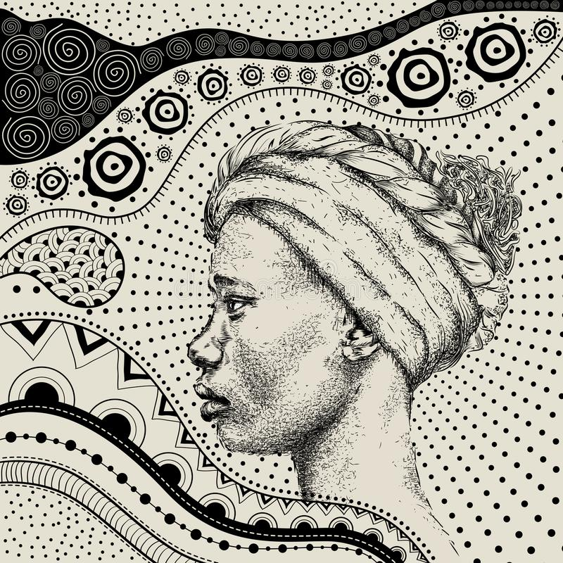 Free African Girl With African Hand Draw Ethno Pattern, Tribal Background. Beautiful Black Woman. Profile View. Vector Illustration Stock Photography - 107440892