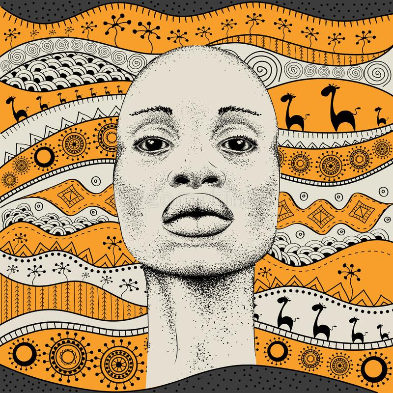 Free African Girl With African Hand Draw Ethno Pattern, Tribal Background. Beautiful Black Woman. Profile View. Vector Illustration Stock Photos - 107838473
