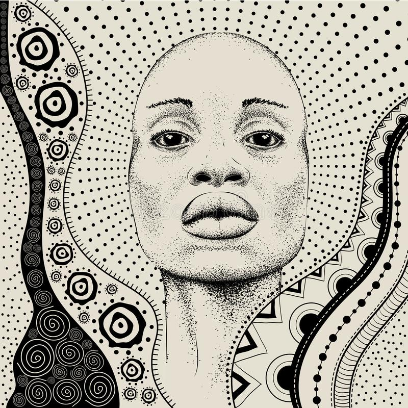 Free African Girl With African Hand Draw Ethno Pattern, Tribal Background. Beautiful Black Woman. Profile View. Vector Illustration Stock Image - 109696691
