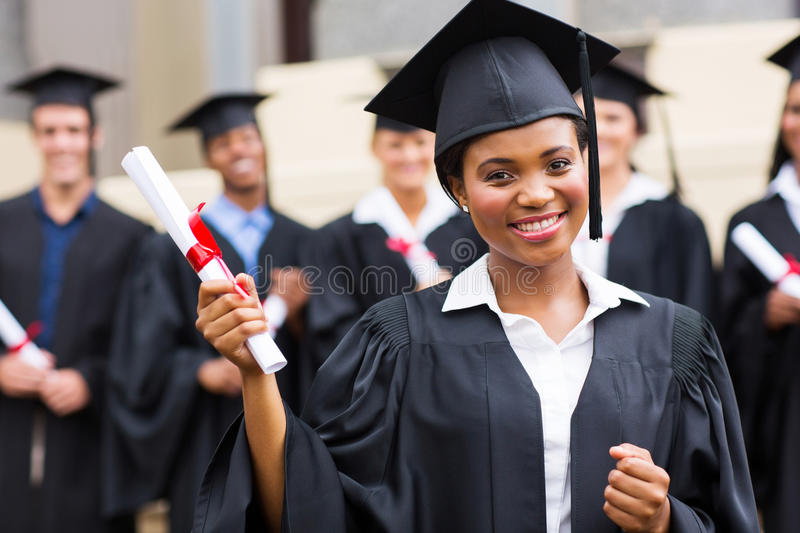 African graduate at ceremony stock image