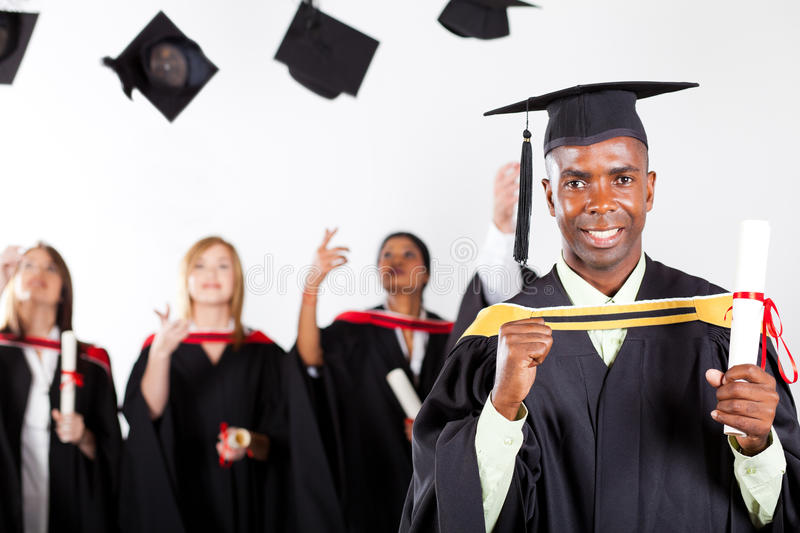 African graduate at graduation royalty free stock image