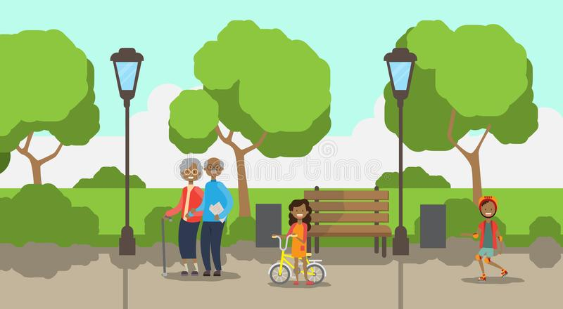 African grandparents grandchildren, full length avatar over city park wooden bench street lamp green lawn trees template. Background flat vector illustration royalty free illustration