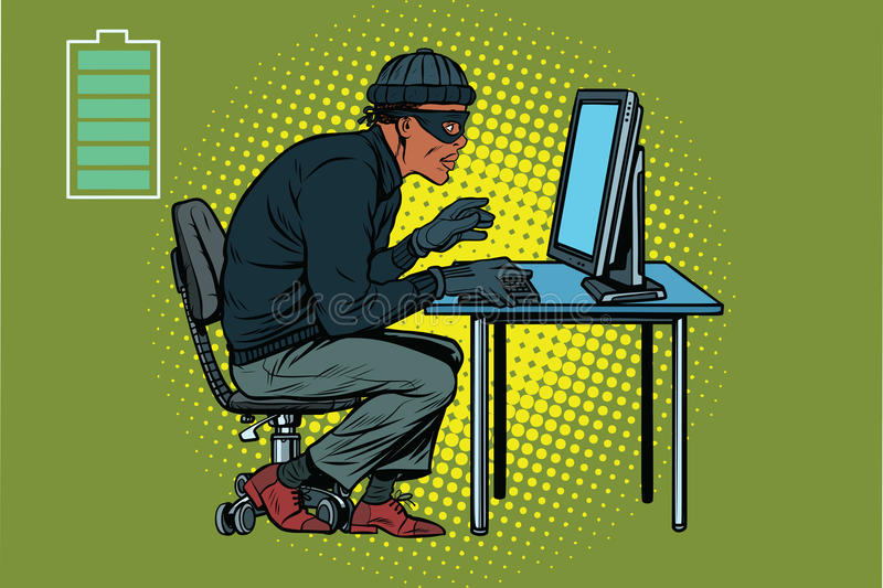 African hacker thief hacking into a computer royalty free illustration