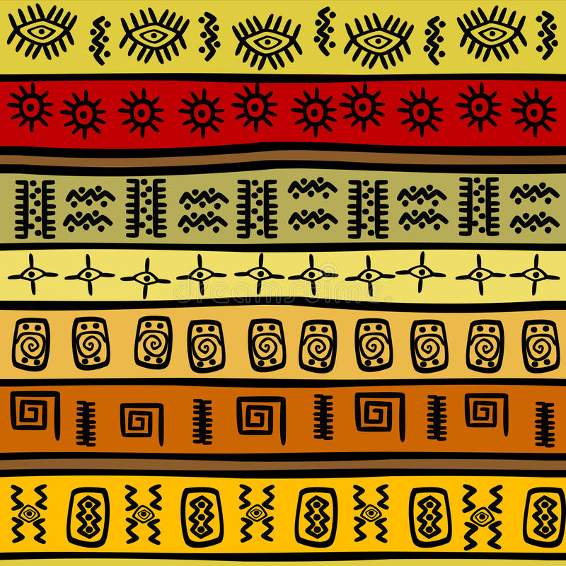 African hand-drawn ethnic pattern, tribal backgrou stock illustration