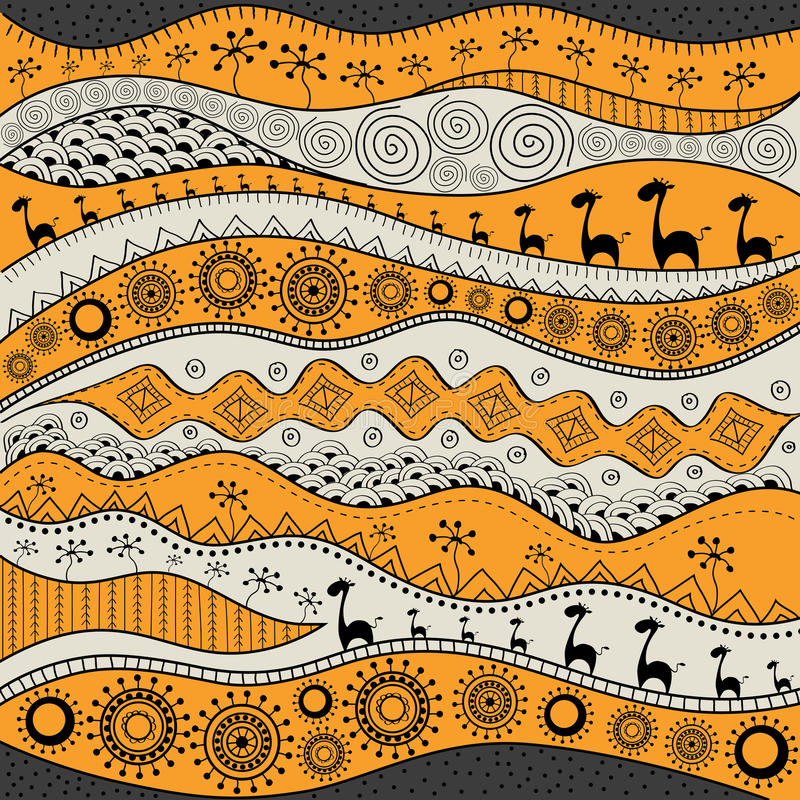 African hand-drawn ethno pattern, tribal background. It can be used for wallpaper, web page and others. Vector illustration. royalty free illustration