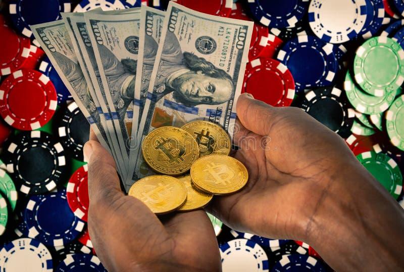 African hands bitcoin stock photo