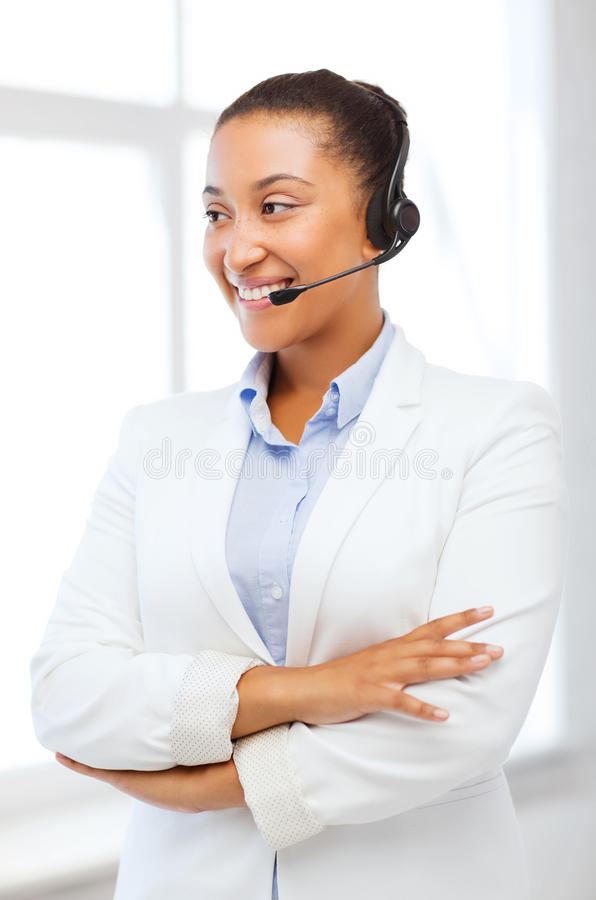 Download African Helpline Operator With Headphones Stock Image - Image: 33877609