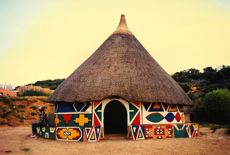african hut village royaltyfri foto