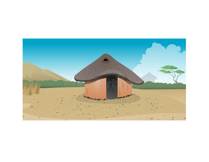 African hut village. Cartoon illustration of an African hut village stock illustration