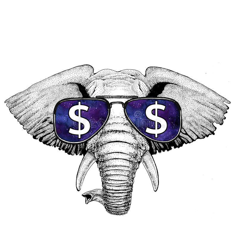 African or indian Elephant wearing glasses with dollar sign Illustration with wild animal for t-shirt, tattoo sketch. T-shirt print with wild animal wearing royalty free stock photos