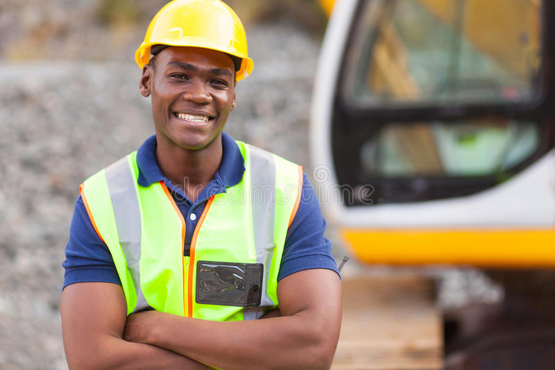 African industrial worker royalty free stock images