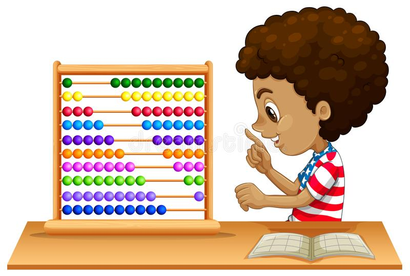 An african kid learning abacus. Illustration royalty free illustration
