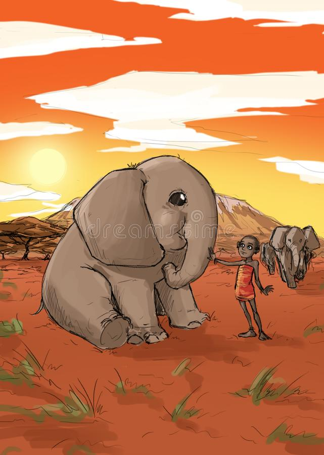 Elephant with baby kid in African savannah stock illustration