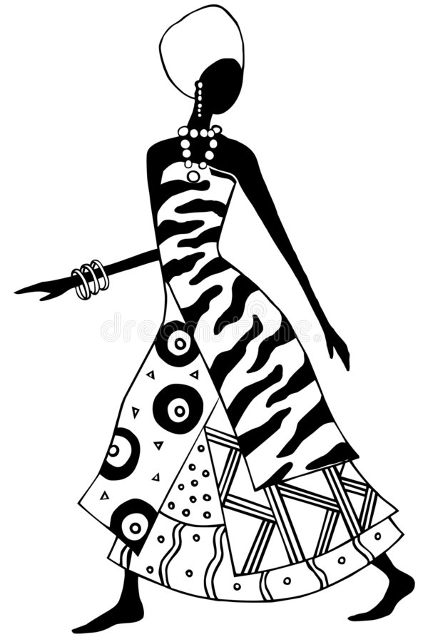 African lady. Stylized black and white african woman illustration royalty free illustration