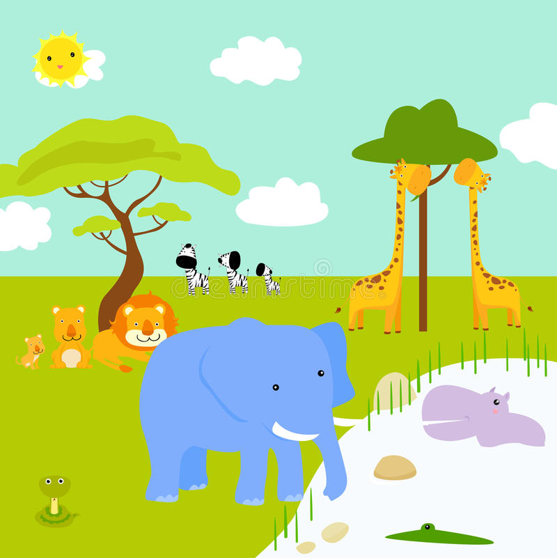 Download African Landscape And Animals Stock Vector - Image: 23948707