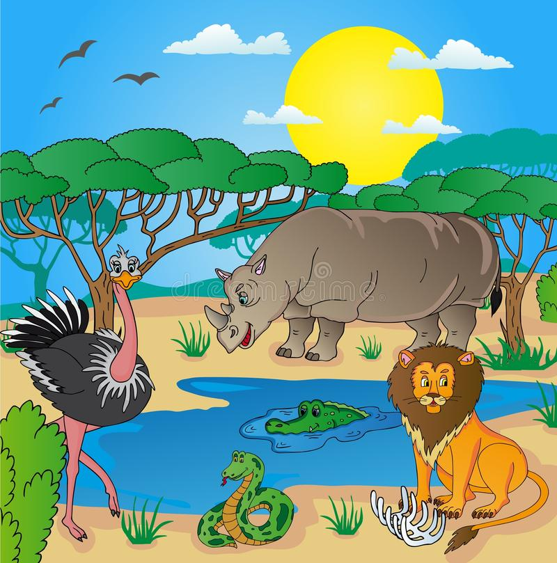 African landscape with animals 02 stock illustration