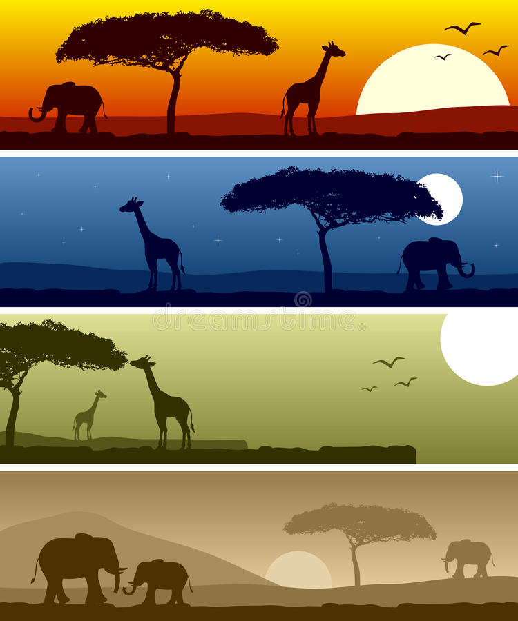 African Landscape Banners. Four banners representing different african landscape scene. Eps file available