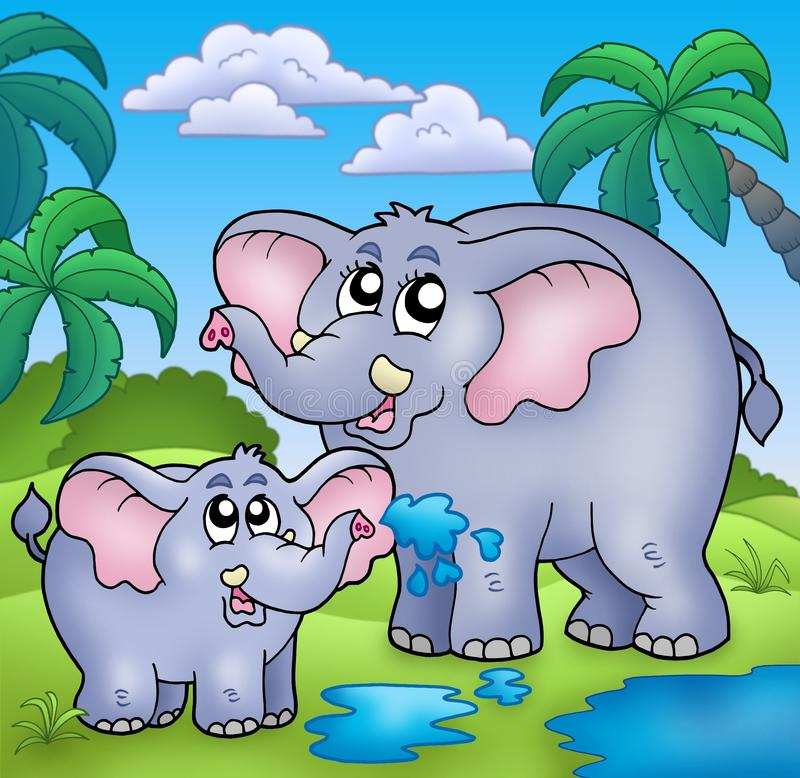 Download African Landscape With Elephants Stock Illustration - Illustration of playful, illustration: 12837880