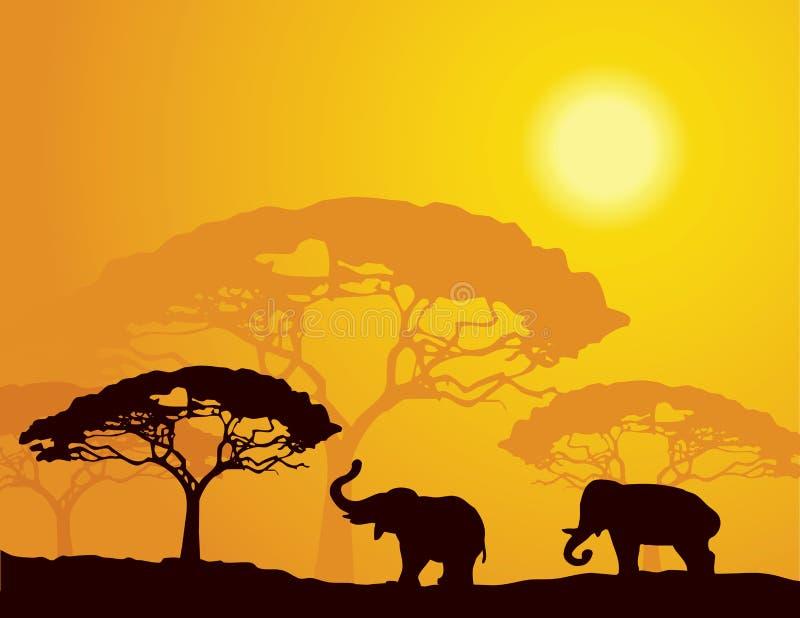 African landscape with elephants stock illustration